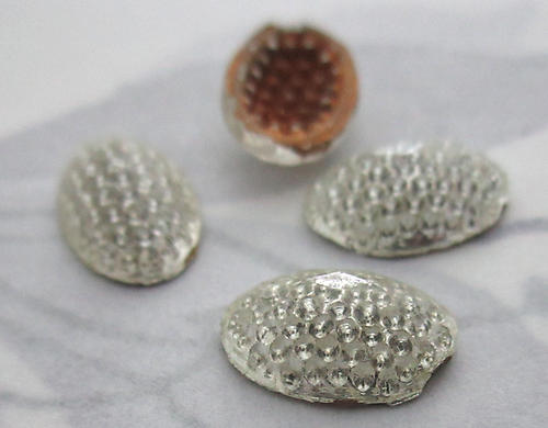 4 pcs. antique Victorian reflector glass foiled bumpy cabochons 12x8mm - f5947