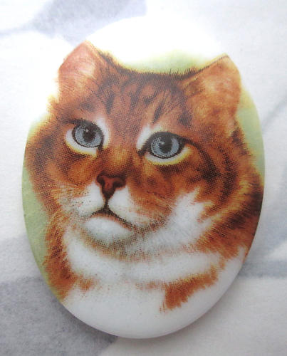 porcelain print cat flat back cabochon 40x30mm - f5953