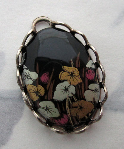 black floral leaf and grass print cabochon in silver tone lace setting charm 18x13mm - f5960