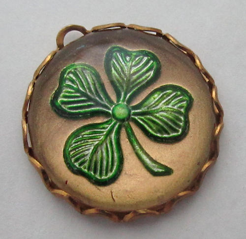glass reverse painted intaglio four leaf clover shamrock luck cabochon in raw brass lace edge setting charm 18mm - f5983