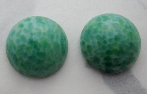 2 pcs. glass jade green speckled round cabochons 14mm - f6013