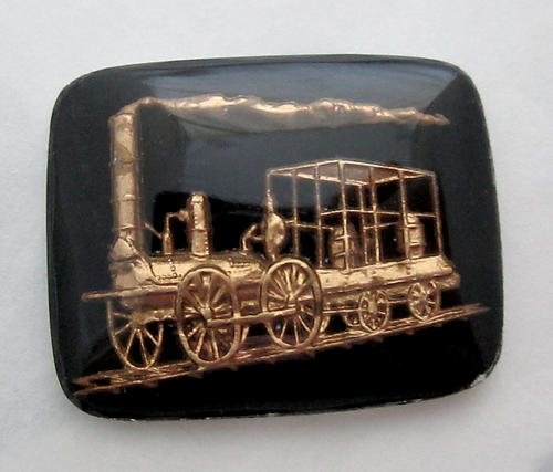 glass reverse painted intaglio steam engine train cabochon 38x22mm - f6018