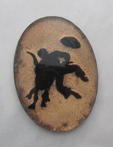 glass reverse painted intaglio bronco busting rodeo cowboy cabochon 25x18mm - f6042
