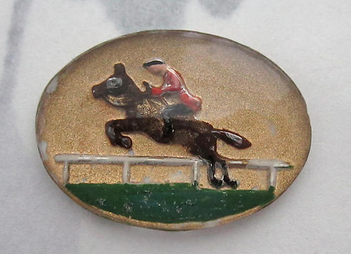 glass reverse painted intaglio steeplechase leaping horse and jockey cabochon 21x16mm - f6077