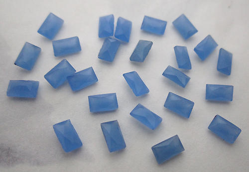 24 pcs. calcedon blue French cut baguette cushion rhinestones 5x3mm - f6085