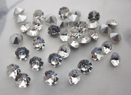 36 pcs. glass TTC table tin cut Preciosa clear silver foiled pointed back rhinestones ss21 - f6087