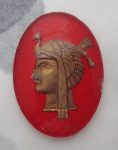 glass reverse painted intaglio Egyptian revival pharaoh w turkey hat cabochon 25x18mm - f6111