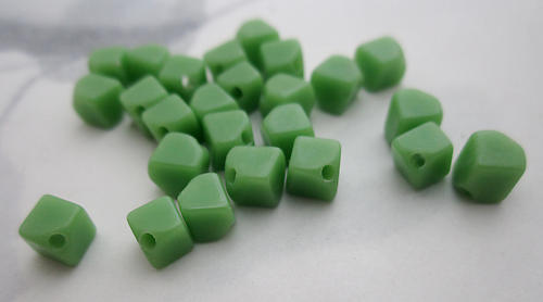 50 pcs. glass opaque green diagonal cube beads 6mm - f6125