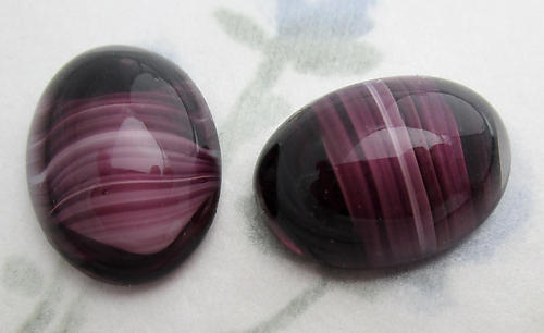 4 pcs. glass amethyst purple oval stripe givre flat back cabochons 18x13mm - f6210