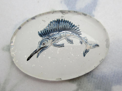 glass reverse painted intaglio leaping sailfish swordfish cabochon 25x18mm - f6211