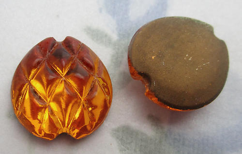 4 pcs. glass pineapple harlequin textured topaz foiled cabochons 14mm - f6215