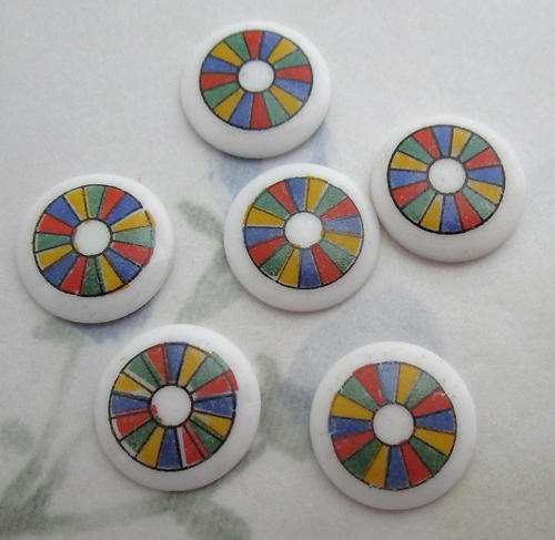 6 pcs. porcelain print color wheel flat back cabochons 14mm - f6226