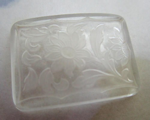 glass clear etched floral flower cabochon 24x18mm - f6254