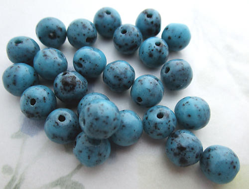 25 pcs. Czech glass opaque turquoise blue speckled beads 10mm - f6308