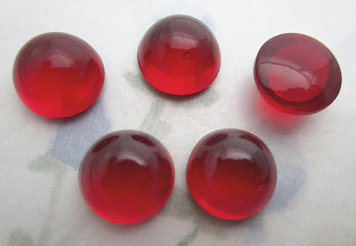 16 pcs. ruby red round bombe cabochons ss48 - f6391