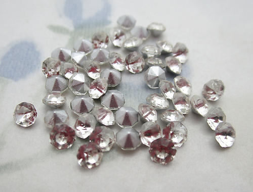150 pcs. glass TTC table tin cut clear foiled rhinestones ss13 - f6424