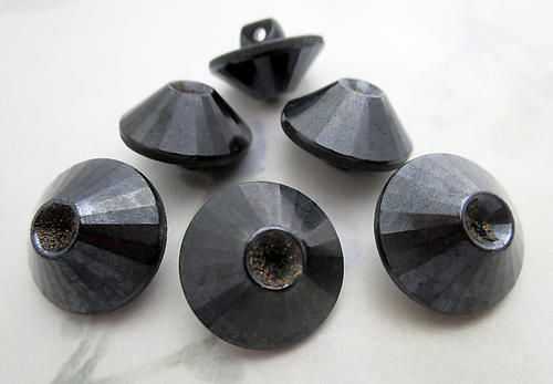 6 pcs. glass hematite finish shank cone buttons w 4mm rhinestone settings - f6448