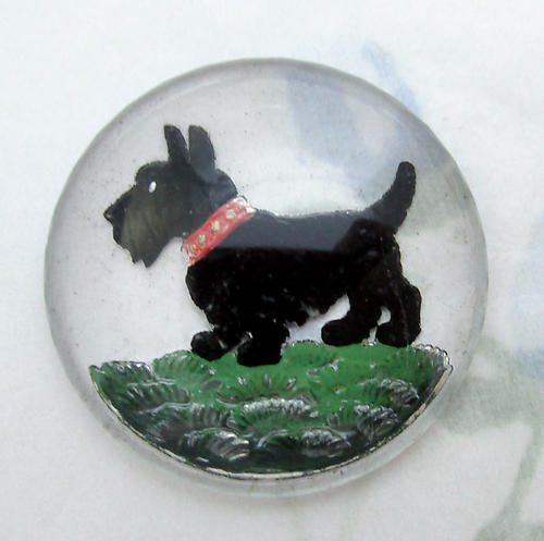 glass reverse painted intaglio scottie dog cabochon 30mm - f6470