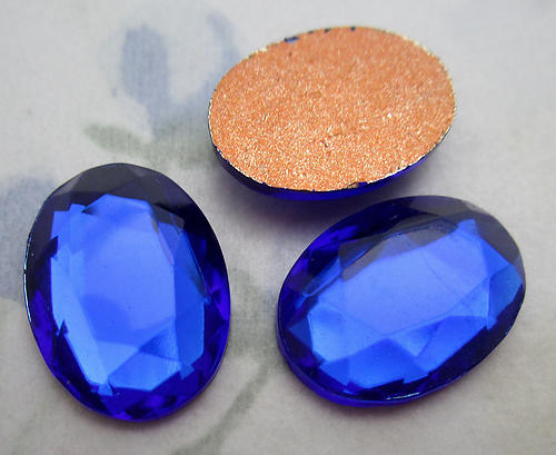 8 pcs. glass foiled faceted cobalt blue flat back oval cabochons 18x13mm - f6528