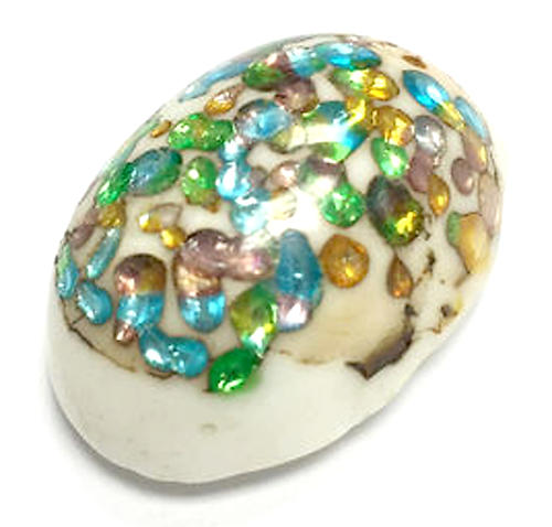 white glass multicolored sparkly foil inclusion cabochon 25x18mm - f6645
