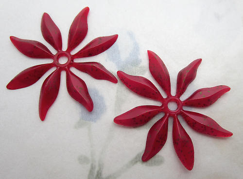 6 pcs. red w gray speckles rubber flower finding w rivet hole or beads 35mm - f6646