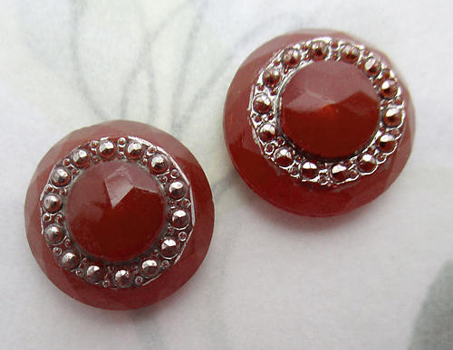 4 pcs. glass faceted carnelian cabochon w faux marcasite ring 15mm - f6656