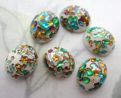 6 pcs. glass white w multicolored foil inclusion sparkly flat back cabochons 10x8mm - f6662