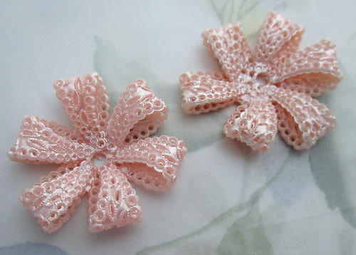 2 pcs. pink plastic filigree ribbon flower rivet on findings beads 36mm - f6691