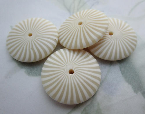 12 pcs. plastic French Ivory striped confection disk beads 25x6mm - f6693
