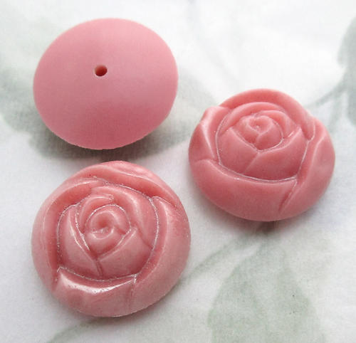 8 pcs. pink plastic rose flower cabochons 18mm - f6725