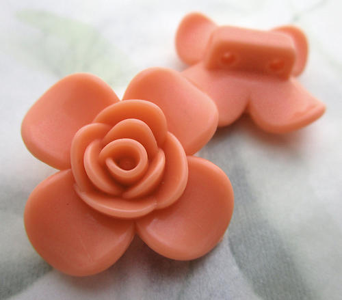 6 pcs. coral orange plastic 2 hole flower spacer beads 30mm - f6763