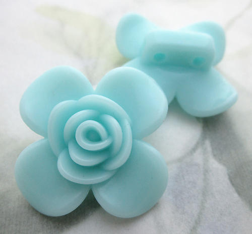 6 pcs. light turquoise blue plastic 2 hole flower spacer beads 30mm - f6764
