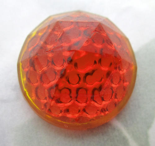 glass faceted amber bumpy back reflector cabochon 23mm - f6819