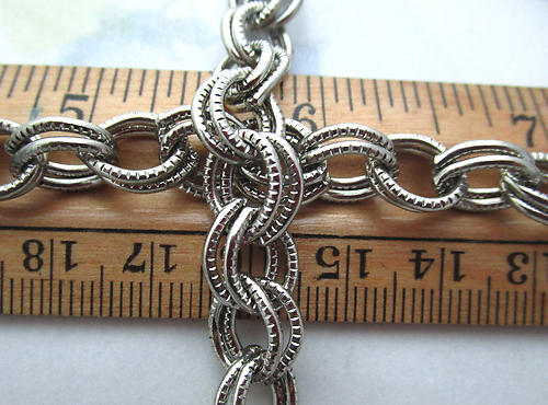 30 pre cut silver tone plated double link cable chain 8.5mm wide - f6866
