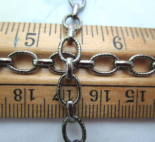 2 feet antiqued silver tone plated textured oval link chain 6mm wide - f6867