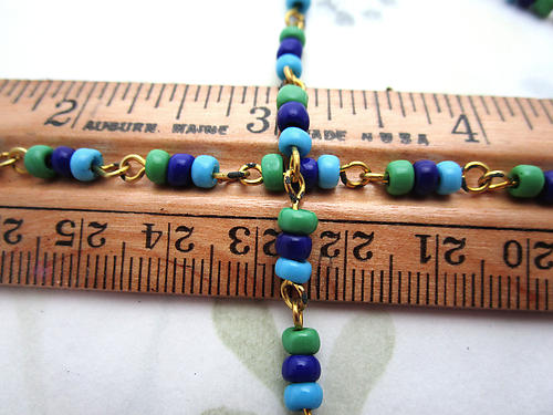3 feet glass green and blue connector rosary bead chain on raw brass wire 4mm wide - f6882