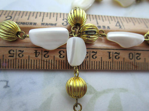 18 MOP mother of pearl shell raw brass and corrugated bead chain - f6887