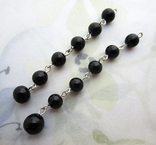 4 pcs. glass black bead adjustable necklace ends earring drops charms 61mm long - f6890