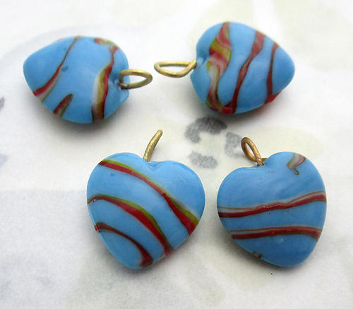 12 pcs. glass blue w red and yellow stripe heart charms 15x14mm - f6914