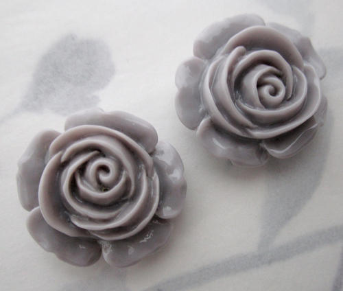 6 pcs. resin gray flower cabochons 22mm - r356