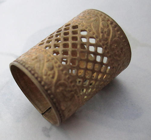 raw brass filigree tube bead lipstick holder 26x20mm - r423
