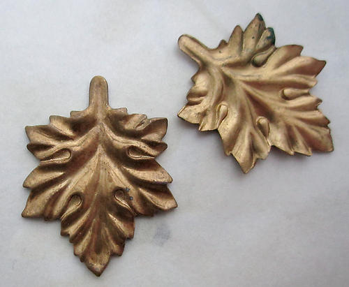 6 pcs. raw brass leaf stampings 28x22mm - r433