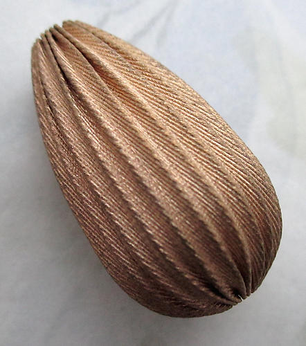 raw brass large corrugated bead 35x20mm - r453