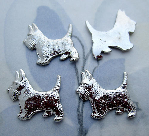 12 pcs. silver tone plated scotty dog cabochons 16x14mm - s1006