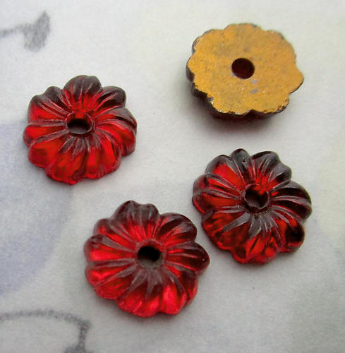 12 pcs. glass deep red foiled flower sew on flat back cabochons 9mm - s1015