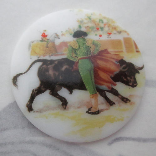 porcelain print bullfighter matador and bull flat back cabochon 38mm - s157
