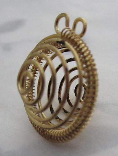 3 pcs. raw brass flexi bead cage charms 20mm - s216