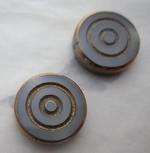 6 pcs. glass opaque grey gray w gold tone plated concentric circle intaglio beads 16x4mm - s242