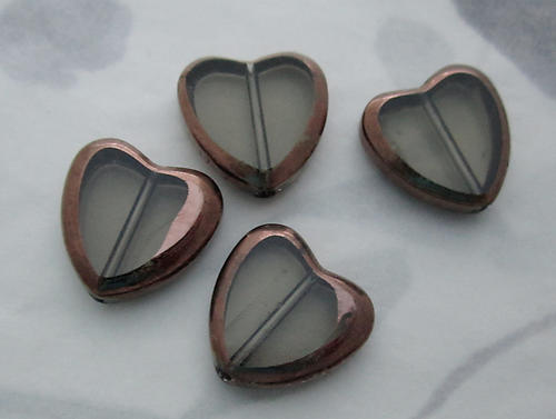 12 pcs. glass black diamond grey gray heart beads w antiqued brass plated edge 14x13mm - s315