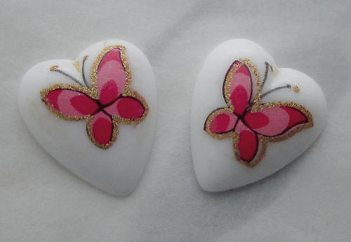 6 pcs. porcelain print pink butterfly heart shaped flat back cabochons 12x10mm - s332